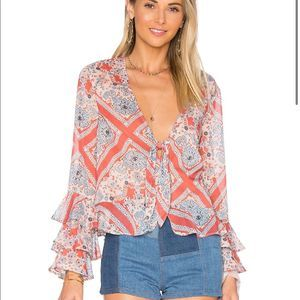 Tularosa Minnie Blouse in Bandana Scarf